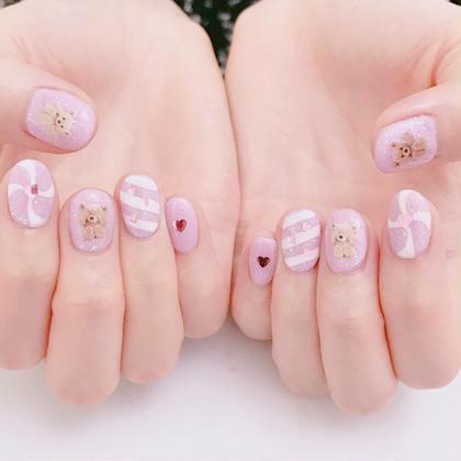 ネイル #harajyuku#nail#pinknail#pink#pinkstagram#キラキラネイル#ガーリーネイル#ハートネイル#ピンクネイル#原宿ネイルサロン#プライベートネイルサロン#原宿#くまネイル#くま#パープルネイル#キャンディネイル#ゆめかわネイル#ゆめかわ