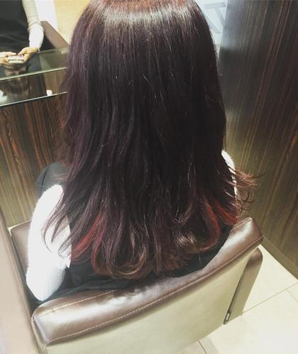 赤とピンクのインナーカラー TAYA心斎橋所属・嘉本将太のスタイル