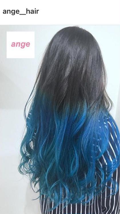 ビビットカラー グラデーションxブルー ブリーチx2 カラーx1 ZEST    Park店所属・大下隼弥のスタイル
