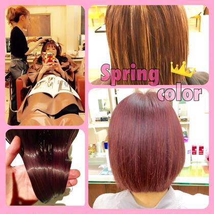 カラー ショート 春なので鮮やかなピンクにし、 ハイライトを入れることで動きが出るので巻くととてもかわいいです(*^_^*)
