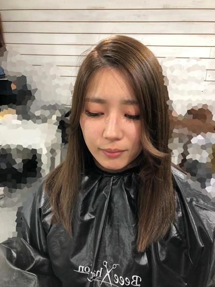カラー セミロング ヘアアレンジ 前髪エクステ30本