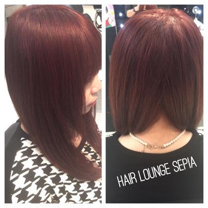 赤ベースの落ち着いた色を表現。 隠し色でピンクを混ぜて柔らかい赤色を出しました! HAIR LOUNGE SEPIA〜men's only  salon〜所属・小方康史のスタイル