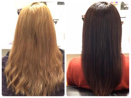ハイトーンからダークブラウンほんのりグラデーションに思い切ったイメージチェンジ✨  暗い色でも毛先をほんのりとグラデーションにすることで重くなりすぎず巻いた時にも動きが出て良い感じに stir maison所属・カラーリストSAYAKAのスタイル