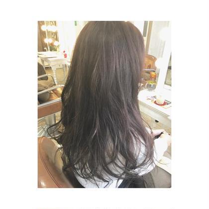 カラー セミロング ミディアム ロング ただの暗髪ではなく、秋なのでラベンダーアッシュにして光が当たった時に柔らかい色味が出るようにしました❤