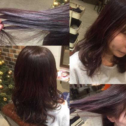 カラー ショート セミロング ミディアム 全体に細かいハイライトを入れて lavender violet color を on✌︎  色落ちも楽しめるcolorです✨