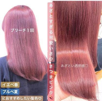 """【今月だけ❤️平日限定🍫】髪本来の赤みを漂白し色落ち後の赤みが気にならなくなる""""特別なカラー剤″をご用意してます💓"""