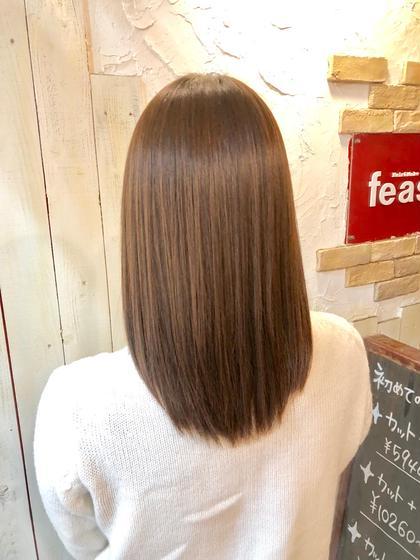 縮毛矯正です! 福岡航のセミロングのヘアスタイル