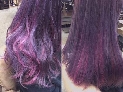 pink highlight ♡ ブリーチ3回以上 フリーランス美容師所属・🎀miyu/ピンク×ラベンダーのスタイル