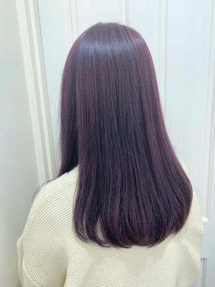 カラー セミロング 春らしいくすみピンクバイオレット