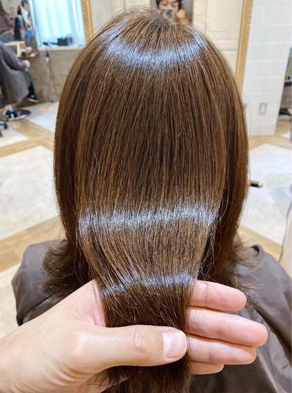 髪質改善で艶髪に💓髪質改善ダメージレスサイエンスアクアinオーガニックカラー➕モテ髪カット➕ナノスチーム➕スパ