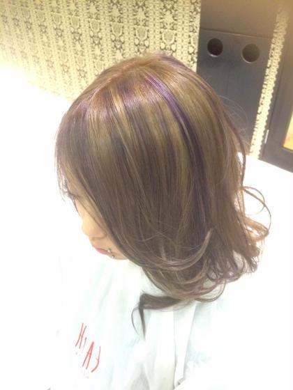 ミルクティーアッシュベースにバイオレットのハイライト☆ hairmakeEARTH岐阜店所属・新川はる菜のスタイル
