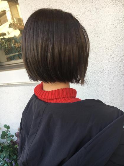 アゴラインボブにダークグレージュ 田代広大のショートのヘアスタイル