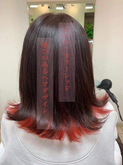 インナーカラーで遊びのあるヘアスタイルに(•ᵕᴗᵕ•) SHAPE GARDEN 亀有所属・米田日菜子のスタイル