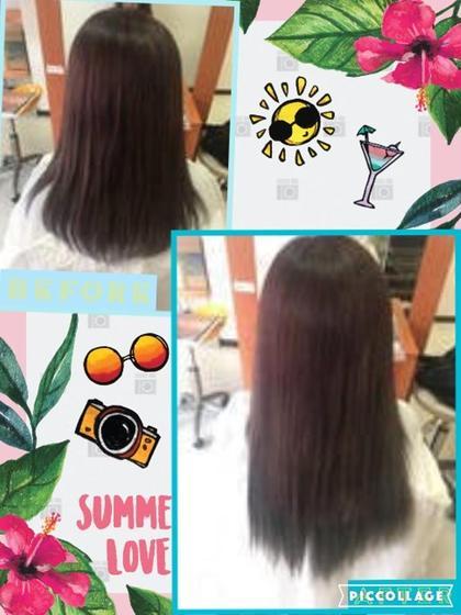 編み込み65本のクーポンを使ってお取り付けしました!! 黒に近い暗めの茶色と、グレーの色を半分ずつ混ぜて取り付けています☆ 地毛の色がパープルアッシュのようなお色のお客様でしたが、グレーを混ぜたことで暗めのアッシュの地毛に馴染みました!(^^)! DuoHair心斎橋店のロングのヘアスタイル