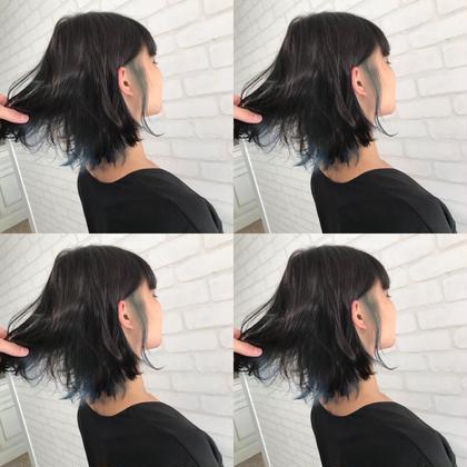 #ブルー CHIMANのセミロングのヘアスタイル