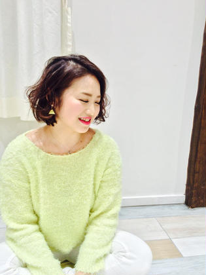 color→pinkbrown 少し重めボブ パーマ風巻き*\(^o^)/* Hair Salon Viage所属・W.ayumiのスタイル