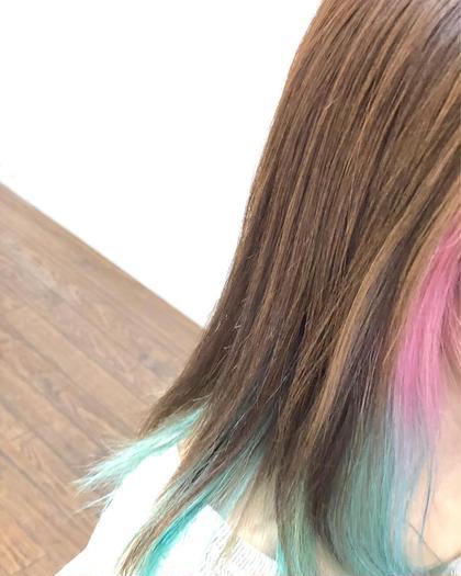 カラー ミディアム インナーカラー⭐︎ ベビーピンクとキャンディブルー