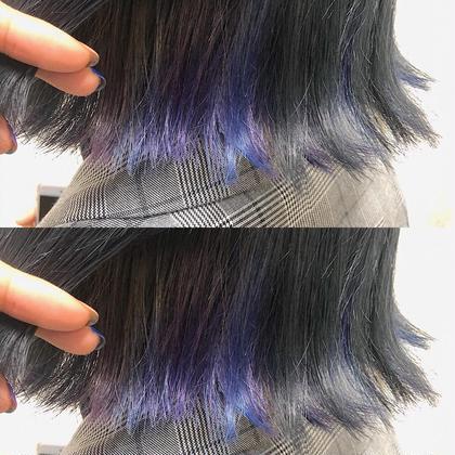 ユニコーンインナーカラー 青紫mix 全体グレー