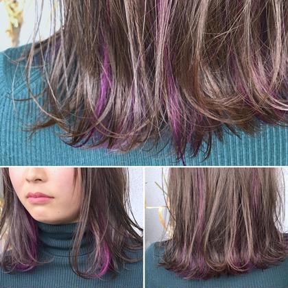 その他 カラー ショート パーマ ヘアアレンジ Real  salon work✂︎ 【 inner hilight / purple 】 . インナーハイライトに パープル & ラベンダーアッシュ☆ . 春はインナーデザインで強めの色味もあり☺︎