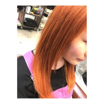カラー ロング long style . color 【 apricot orange🍊】    夏のハイトーンカラー 大人気です💓   今年のトレンドは オレンジ🧡 ということで、 アプリコットオレンジにしました✨    どんな色でも ご希望以上の仕上がりにするので 髪も夏仕様に変えましょう🙆✨