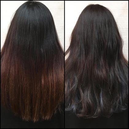 その他 カラー ロング 上の方は少しだけ明るくして透明感をだして毛先の方はブリーチでハイライトいれて立体感と透明感を出しました(*^_^*)