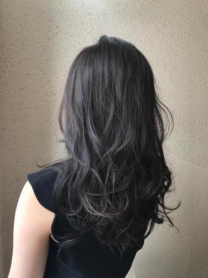 カラー パーマ ヘアアレンジ ロング 地毛風カラー! 暗めながらも圧倒的に透け感が出るカラーです!
