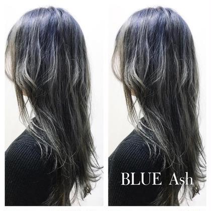 全頭をブリーチして根元に深い青と少しだけ紫をいれ毛先は馴染ます程度に色を伸ばし、色落ちがシルバーぽく楽しめるスタイルです! 藤野原大聖のスタイル