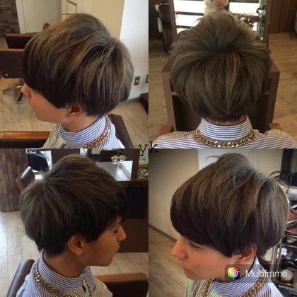 ブリーチオンカラーのグラデーションです!^ ^メンズでもカラーを楽しめます◎ 亀川祐果のメンズヘアスタイル・髪型