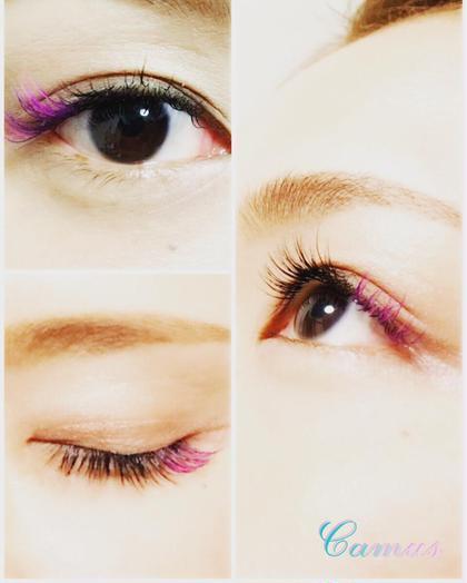 ポイントカラーエクステ♡ピンク×パープル Eyelash&Relaxation salon Camus所属・中井恵理子のフォト