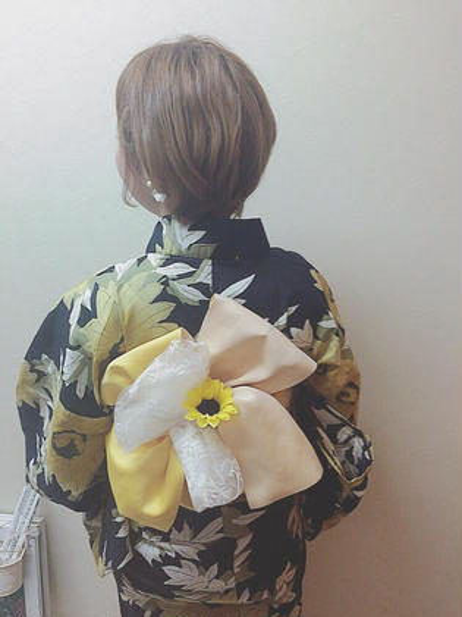 浴衣 変わり帯 P-brands hair kasuga refrain所属・國武 桜のスタイル