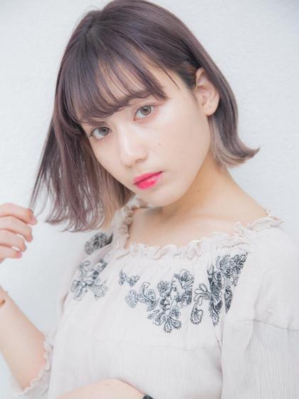 モイスト前髪パーマ+カット+プラチナTr¥4490