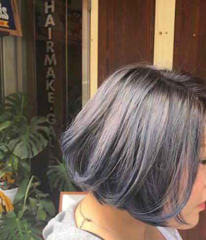 ホワイトアッシュに毛先ブルーアッシュ♪ 透明感と色持ち考えながら⭐️ しゅん🌟の