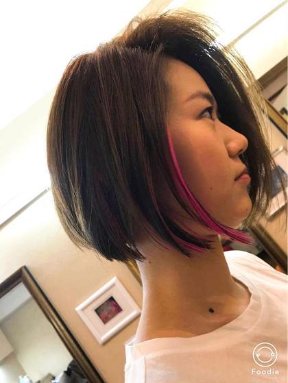 インナーカラーにビビットピンクの差し色