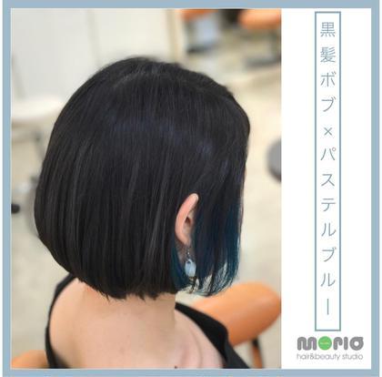 その他 カラー ショート 黒髪ボブ×インナーカラーでパステルブルー 耳掛けすると鮮やかに見える夏にぴったりなオシャレカラー。