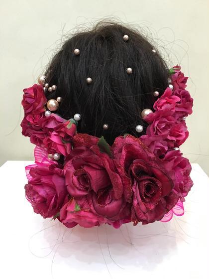 ヘアアレンジ ロング オーダー髪飾り☆オーダーメイドのヘッドアクセサリー