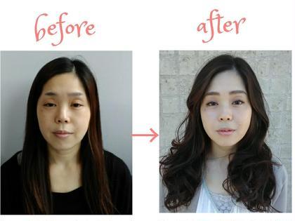 ✨フルメイク✨ ✨アイブロウパーフェクトコース✨ ✨へアセット✨  左右の眉を、骨格・お顔の雰囲気を考慮しながら均一にカット。 リップラインはオーバーに、目元は膨張色を使うことで立体感を強調。 相馬加奈子のヘアアレンジ