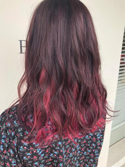 カラー インナーカラーにピンクを♪