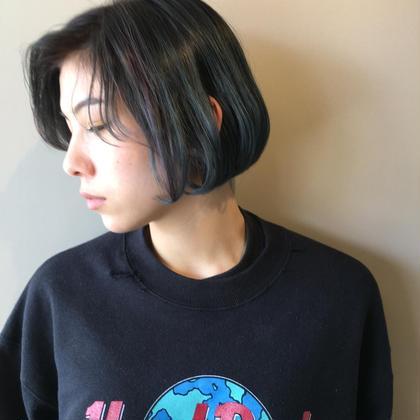 カラー ショート 外国人風ブルーヘアー