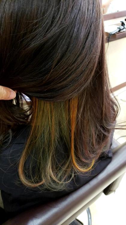 インナーカラー 緑ベースに黄色のアクセントカラー Guarendo川崎所属・渋谷淳のスタイル