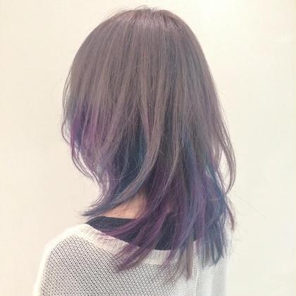 カラー ミディアム 紫青をアクセントにダブルカラー