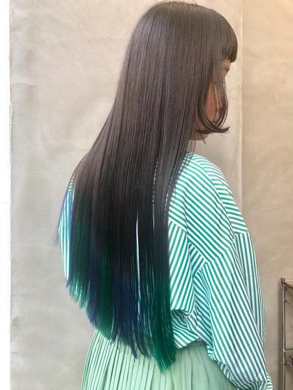 姫カット×裾カラー  #ケアブリーチ #ヘアマニキュア #ダブルカラー #wカラー #ブリーチ #裾カラー #グラデーションカラー