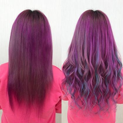 地毛のパープルにベースの色を合わせて、ターコイズを細く全体的に多くメッシュで入れました☆  アプリ登録のお客様は仕上げの巻き髪無料サービス♪