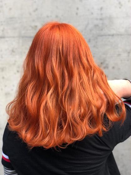 今期トレンドのオレンジ♡ オレンジonlyでカラーしたので、発色も抜群◎!!  ※ロング料金+¥1050〜 山田茜の