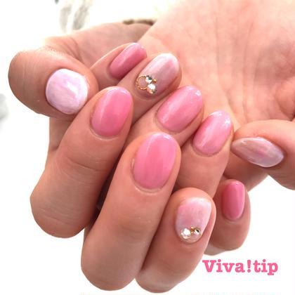 ネイル 春ピンク