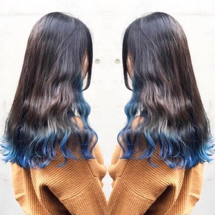 その他 カラー ヘアアレンジ ロング 青髪裾カラー🐳