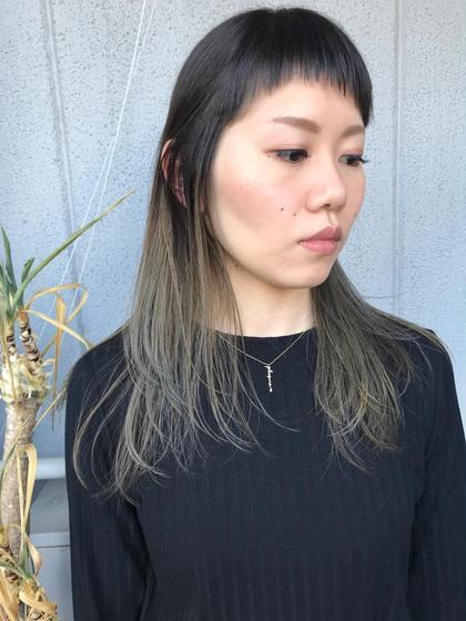 その他 カラー パーマ ヘアアレンジ ミディアム Real  salon work✂︎ 【 wide bang & gradation color 】 . サイドにつながる前髪でモードに✂️ グラデーション&ハイアッシュ✔️ 軽い質感で春っぽく。