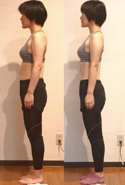 パーソナルトレーニングと整体を三ヶ月した結果です!体型もスリムになり、姿勢も正しくなりました(*´ー`)