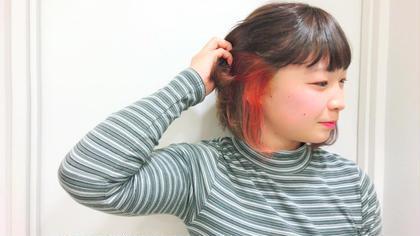 インナーレッド  マニキュアでなくカラー剤で染める事により色落ちが少なく長期にわたり色が楽しめます ヘアモデルさん募集 モデルさんの場合提示価格よりさらに割引させていただきます! AnyWay所属・艶髪カラーリスト馬場 弘樹のスタイル