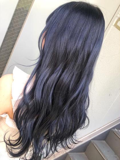 ブリーチ1回の暗髪🦋💎 ブルーだけど黒にも見える不思議な色🦋