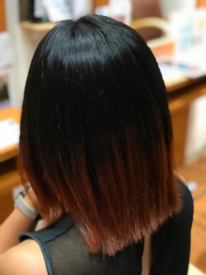 切りっぱなしボブ‼️ 裾カラーで雰囲気が、明るく個性が出ます^_^